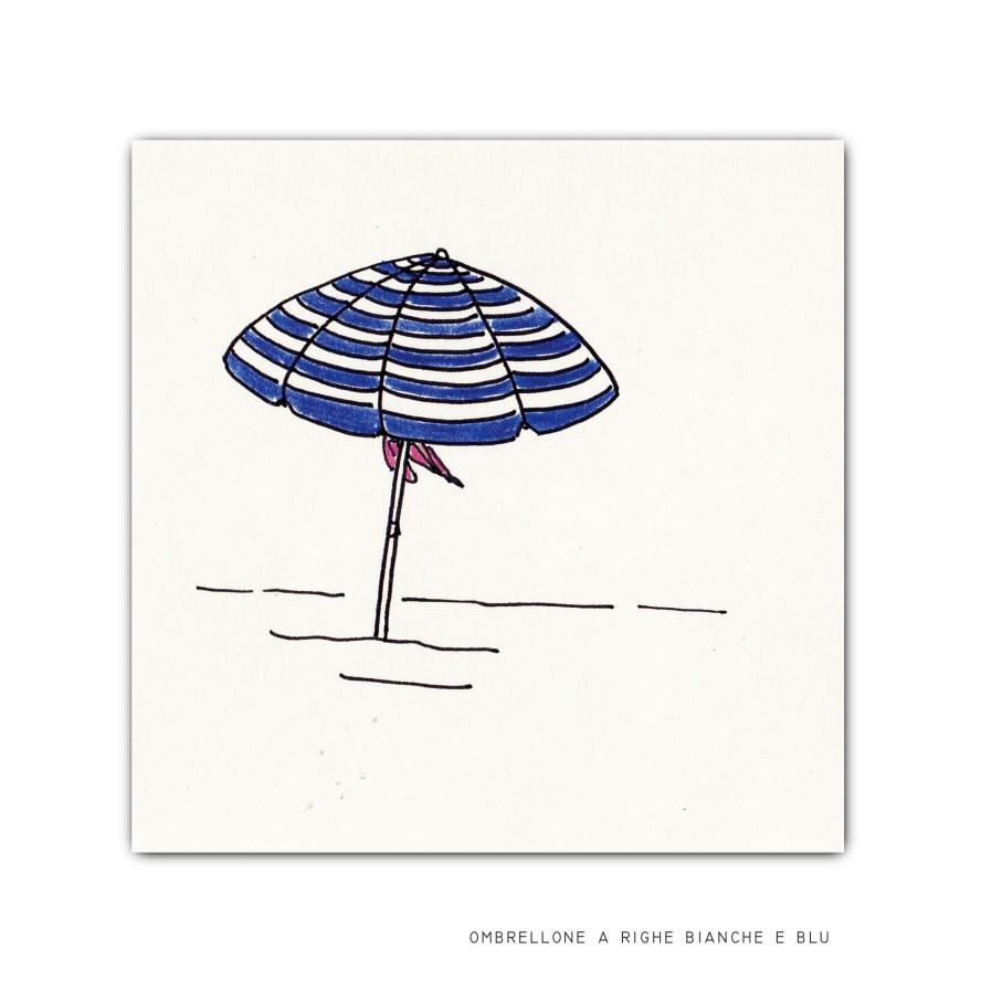 ombrellone a righe bianco e blu, stampa, 10x10 cm